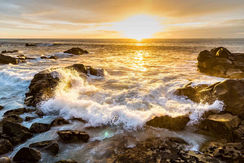 Sonnenuntergang am Strand von Matosinhos